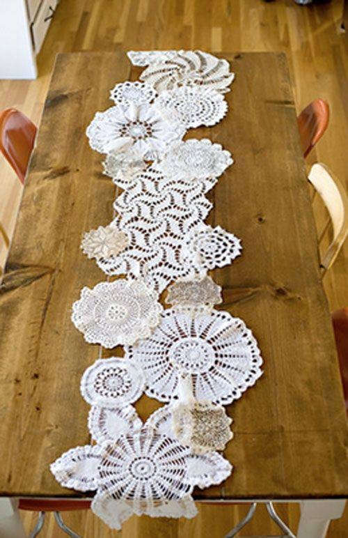 crochet table runner with different circles
