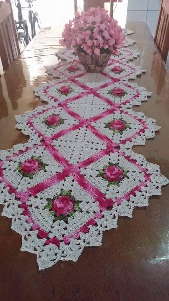 Pink flower crochet table runner