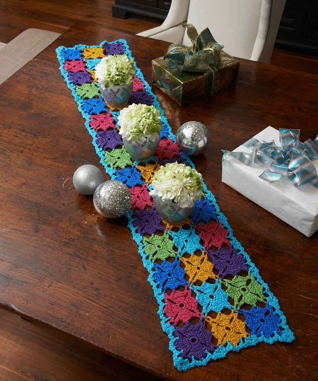 Long blue crochet table runner