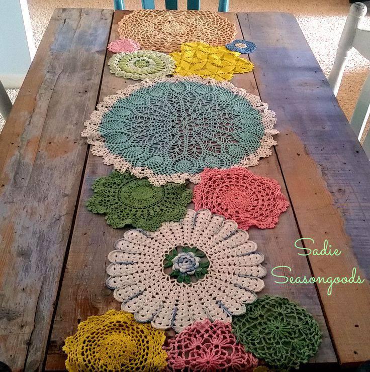 Colorful crochet table runner
