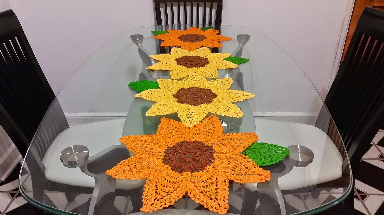 Sunflower crochet table runner