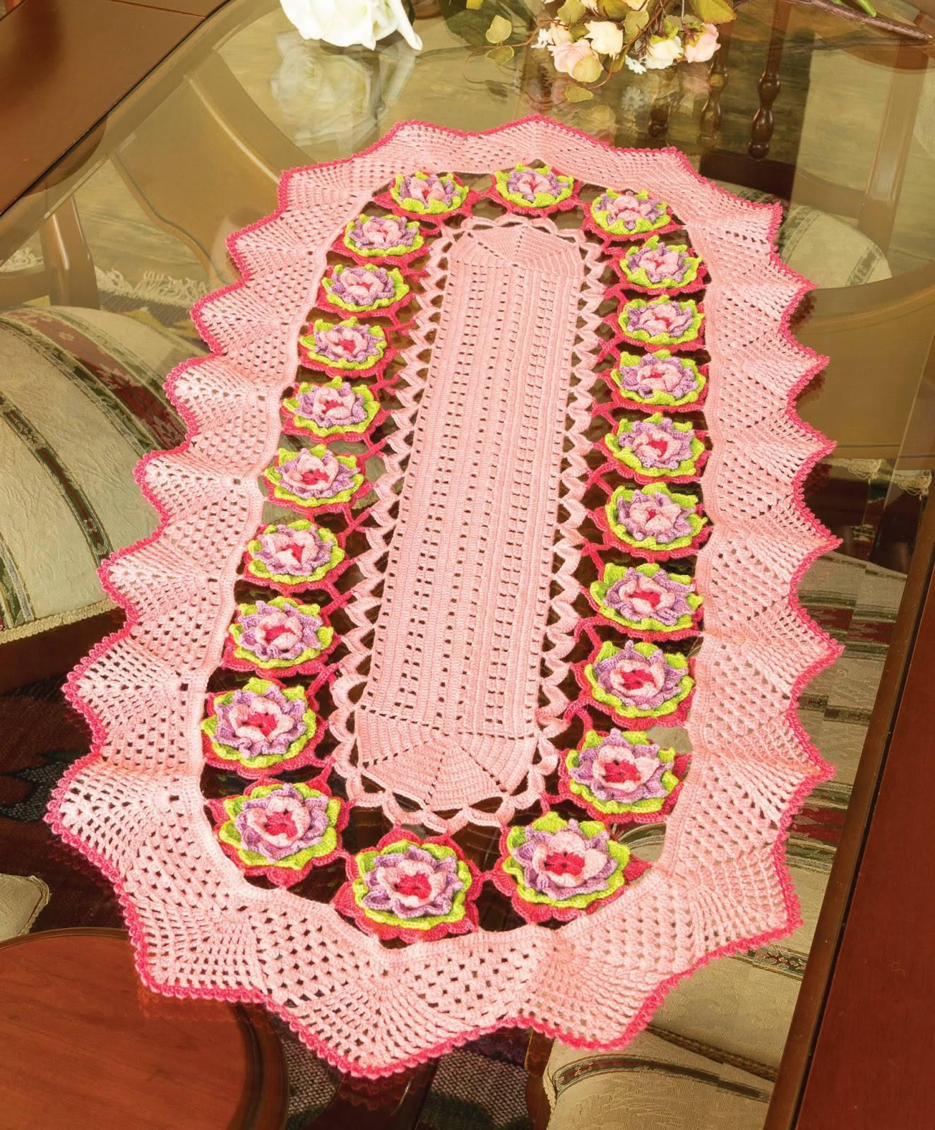 Pink crochet table runner