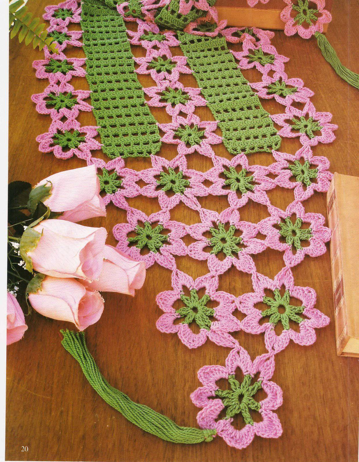 Green and pink crochet table runner