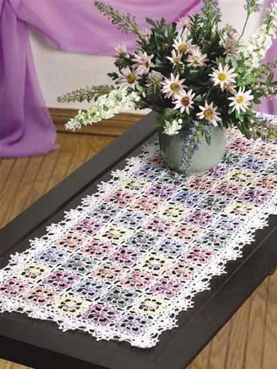 Detailed crochet table runner