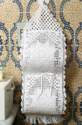 white crochet toilet paper holder