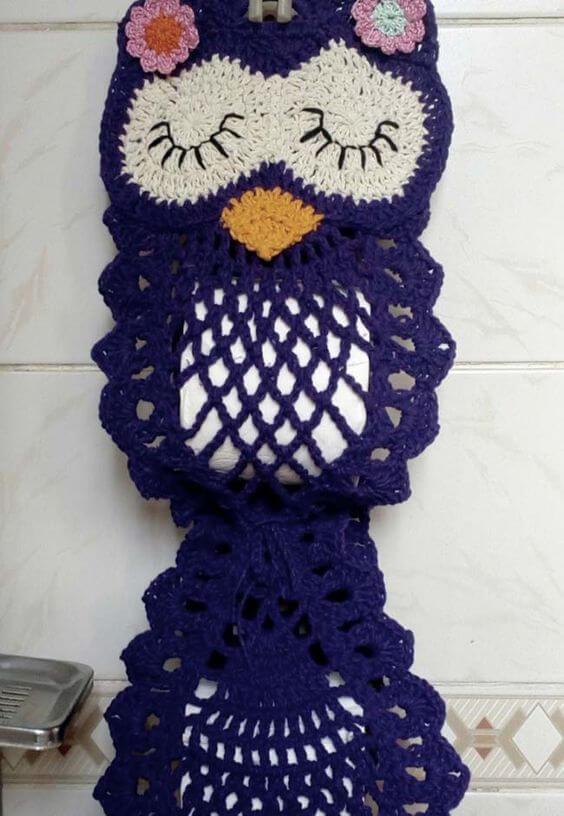 Crochet owl toilet paper holder