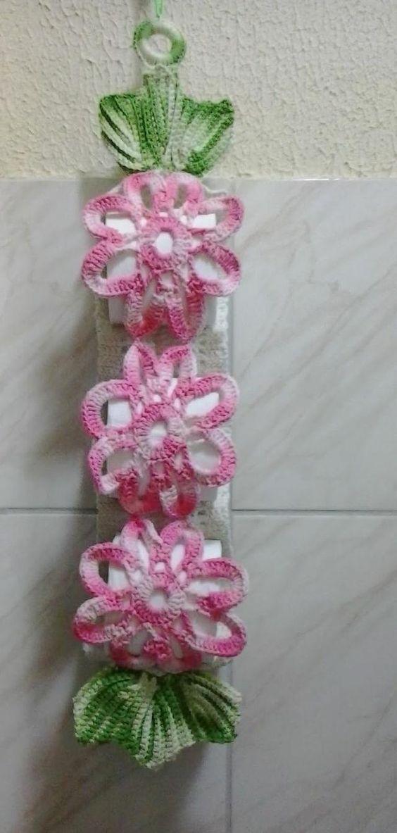Crochet toilet paper holder in flower shape