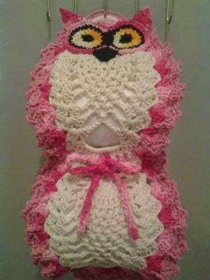 owl crochet toilet paper holder