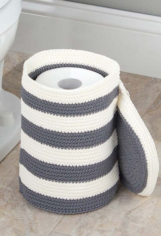 Crochet toilet paper holder step by step