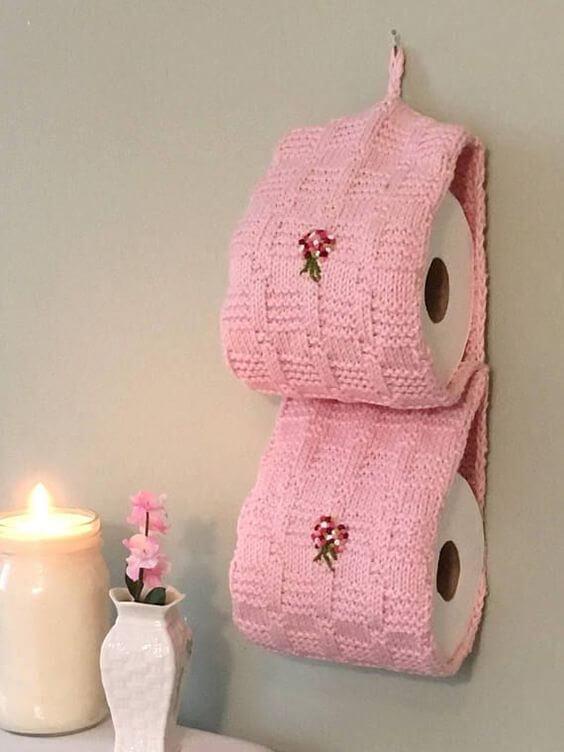 pink crochet toilet paper