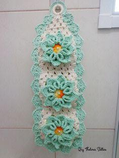 Tiffany and white crochet toilet paper holder