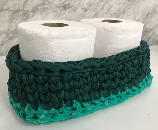 How to make crochet toilet paper holder in green tones