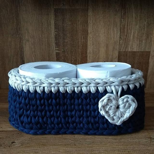 Blue and white crochet toilet paper holder