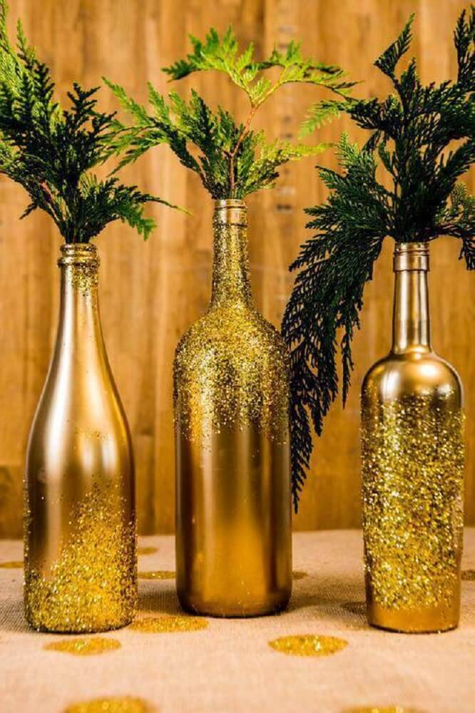 Bottles decorated with glitter