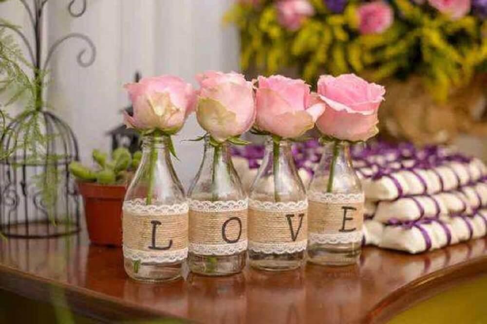 Decorated wedding bottles