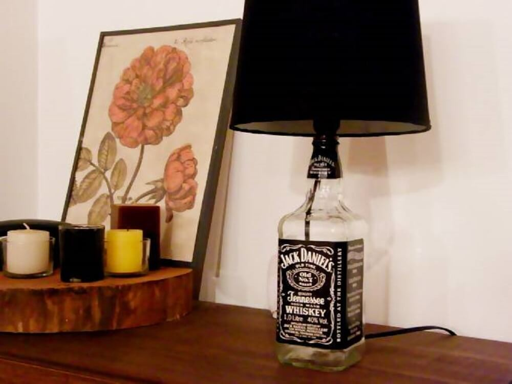 Decoration with lampshade made of Jack Daniel's bottle