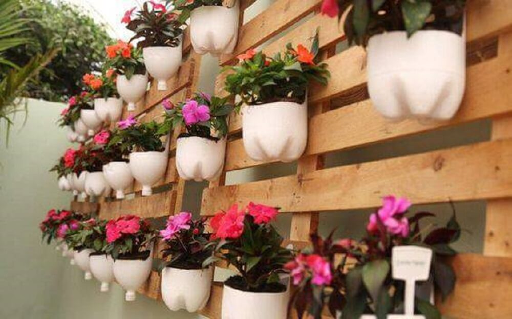 Flower pots made with pet bottles