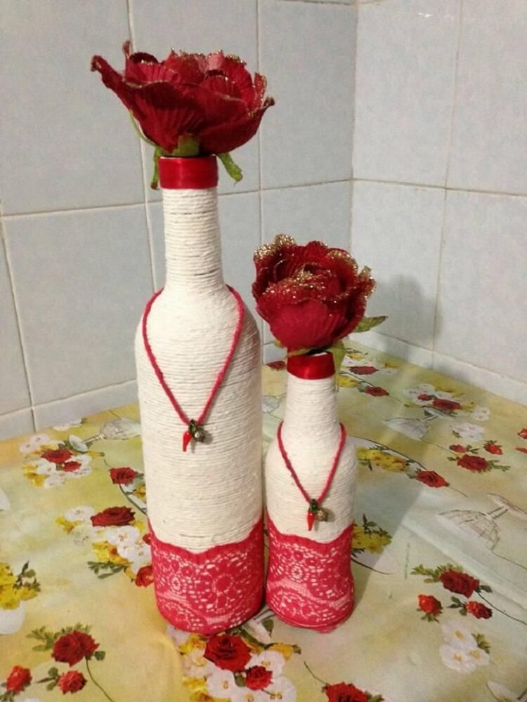 Bottles decorated with string and lace