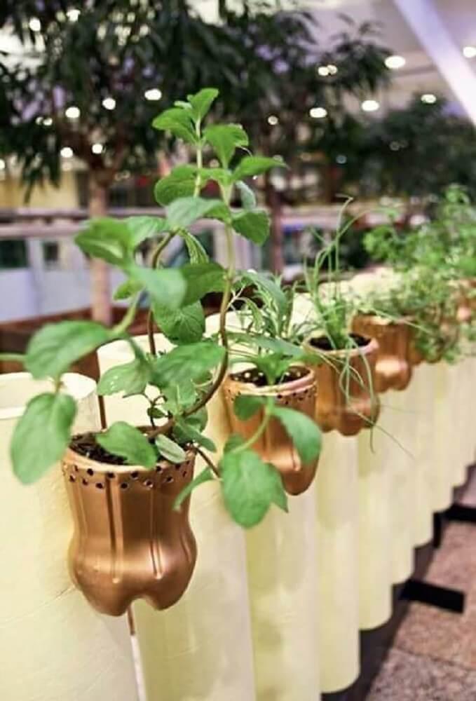 Gold decorated bottles for vegetable garden