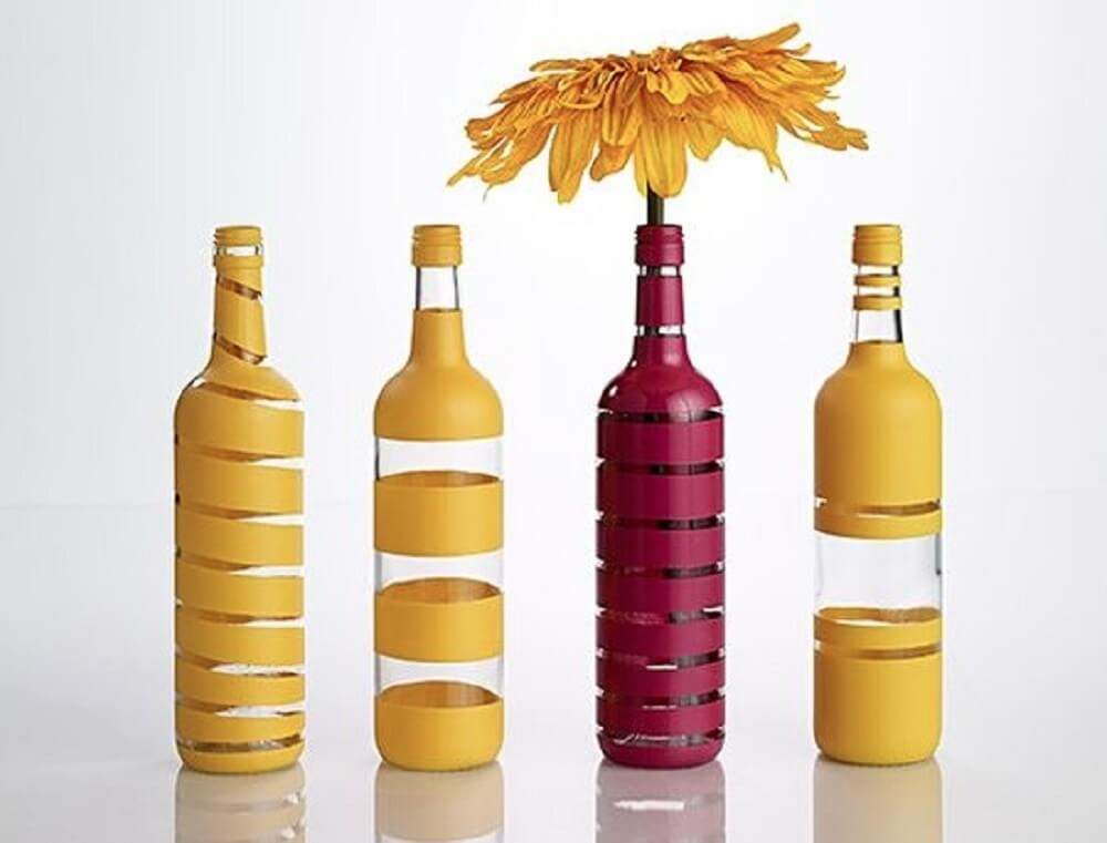 Bottles painted with stripes