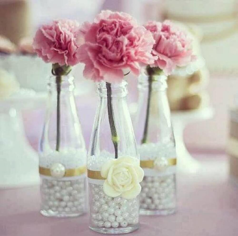 Decorated bottles with lace and pearls