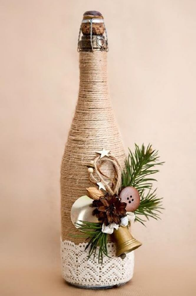 Beautiful bottle decorated with string and lace