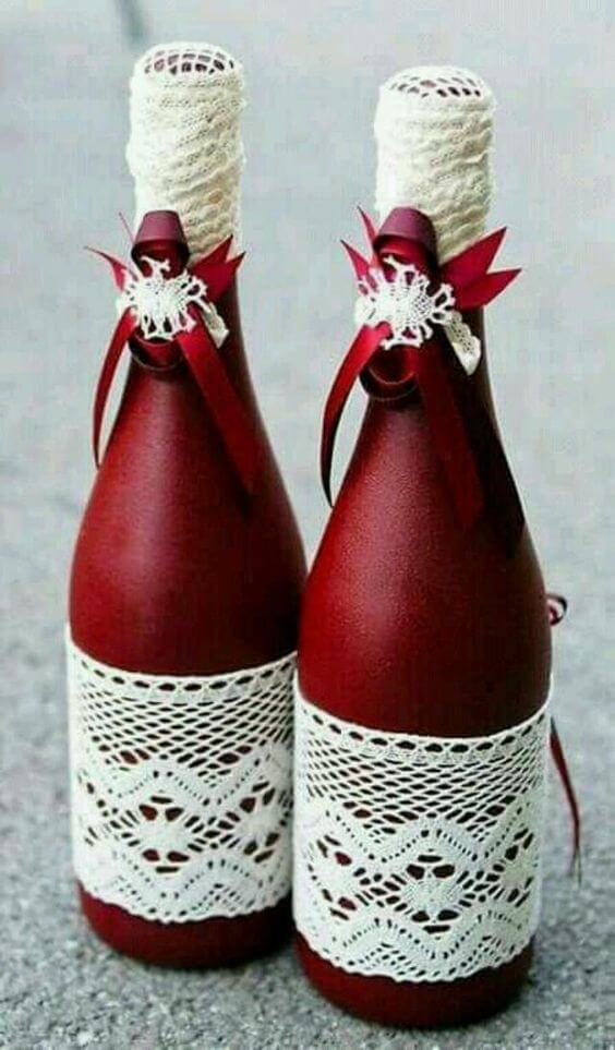 Decorated Bottles - Red Champagne Bottles