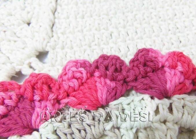 Unique career crochet nozzle in pink tones Foto de Artes da Desi
