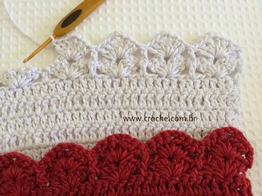 White crochet nozzle in white crochet piece