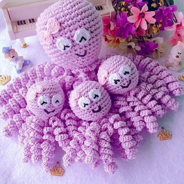 Pink crochet octopus