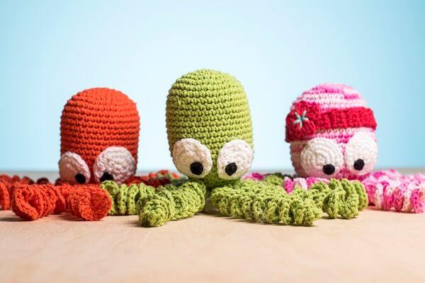 Crochet octopus with big eyes
