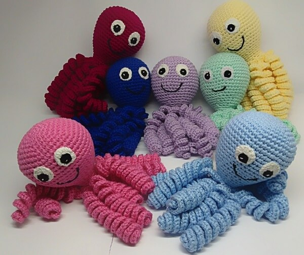 Crochet octopus in different colors