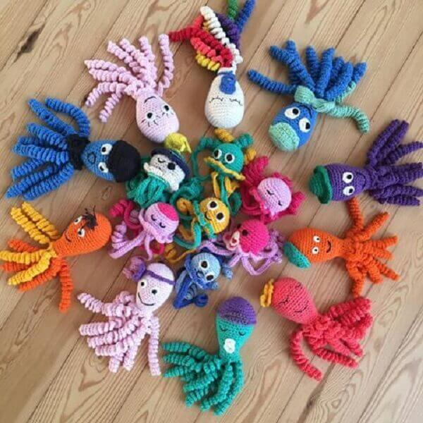 Colorful and cheerful crochet octopus