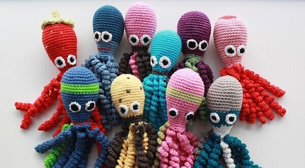 Crochet octopus varieties