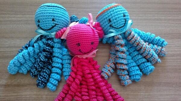 Crochet octopus trio