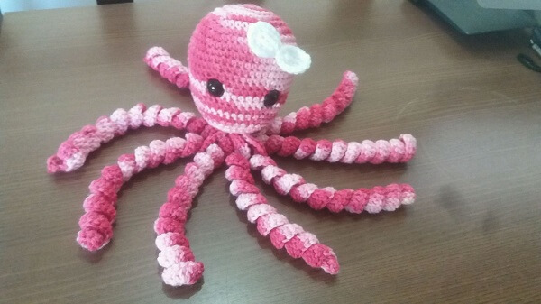 Pink and white crochet octopus