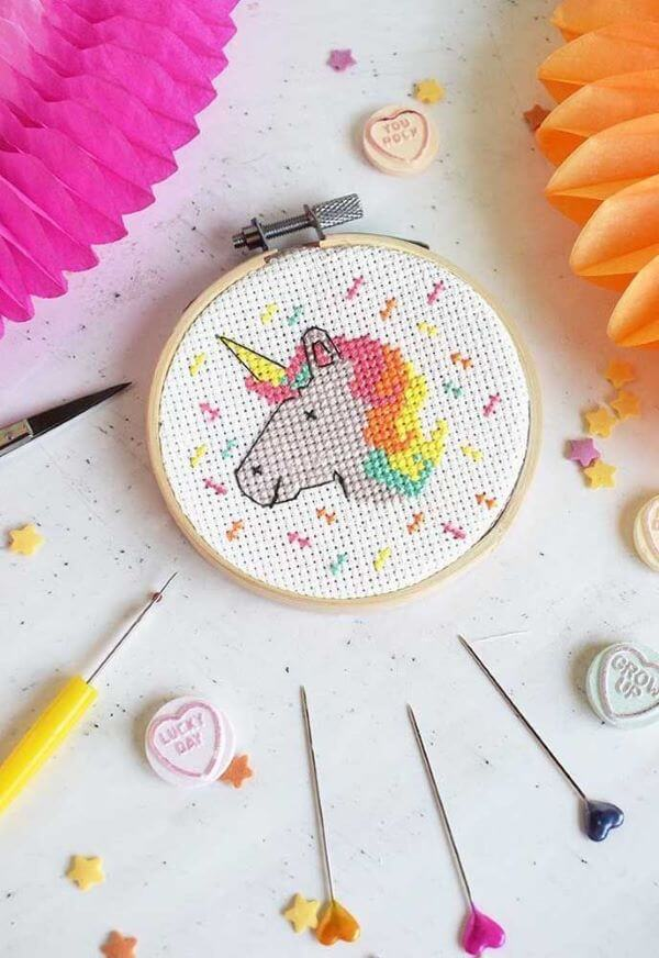 Cross stitch with colorful unicorn