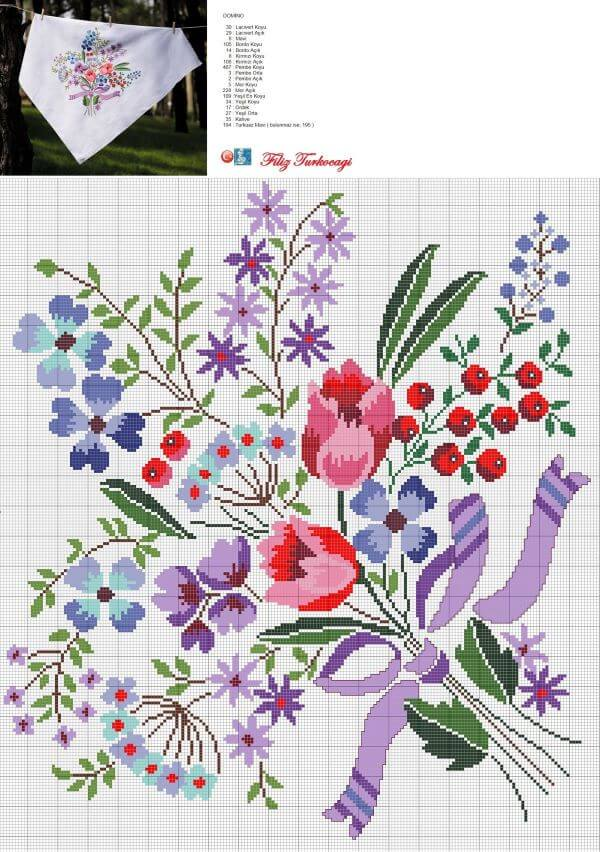Colorful cross stitch chart