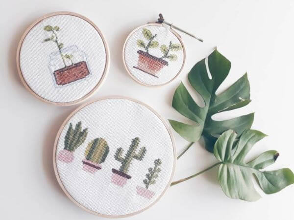 Cross stitch with cacti and plants