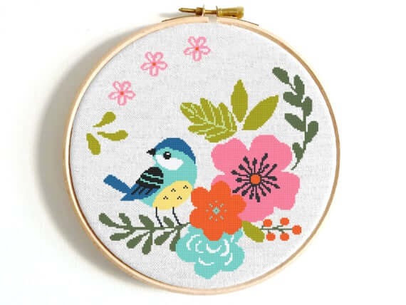 Cross stitch bird and flowers