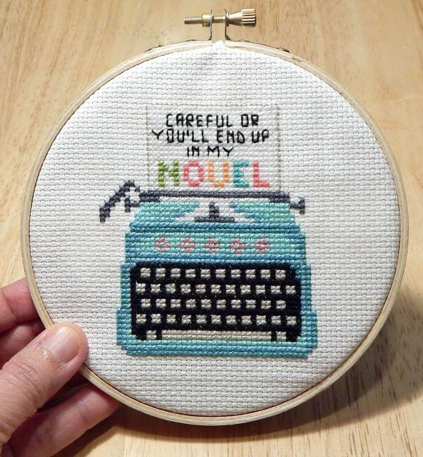 Creative cross stitch with typewriter