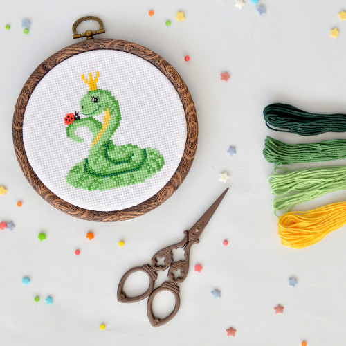 Decoration made of cross stitch embroidery