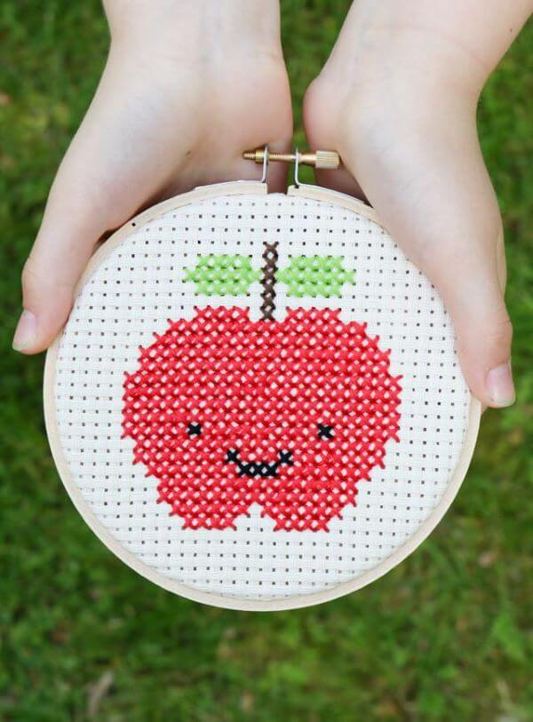 Cross stitch apple for kitchen