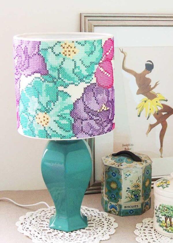 Colorful lampshade with cross stitch