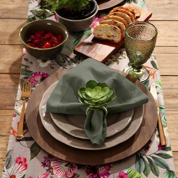 Green fabric napkin with succulents
