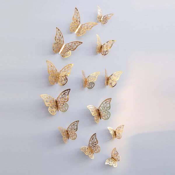 Paper butterflies for golden decoration