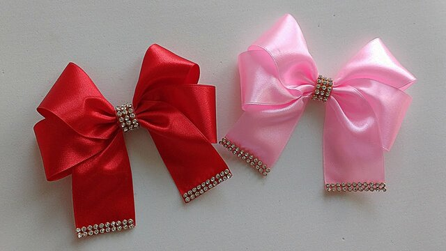 how to make ribbon bow - pink and red ribbon bows with beads