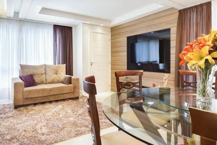 medusa rug - living room with gray terry rug