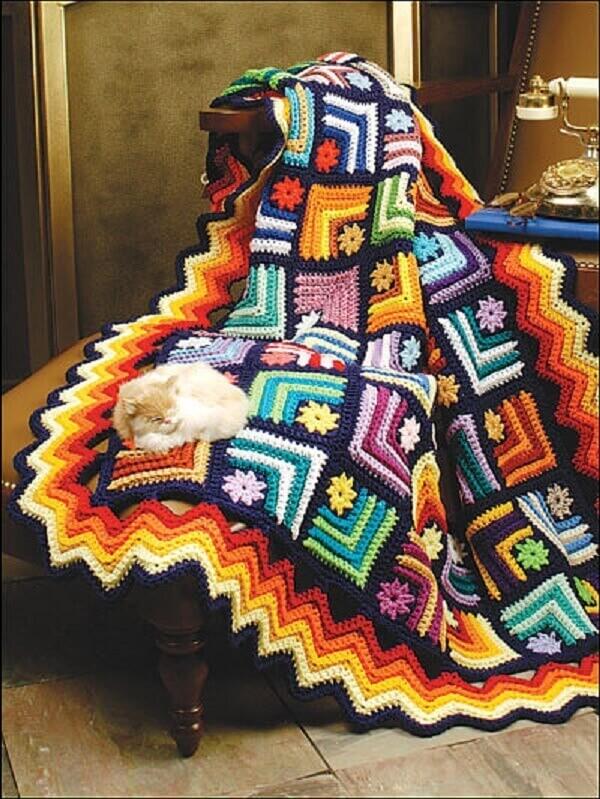 Tunisian crochet sofa blanket
