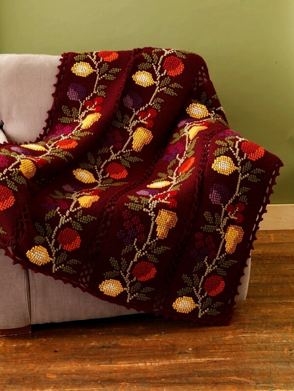 Floral blanket made in Tunisian crochet